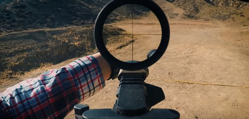 view while sighting in riflescope view