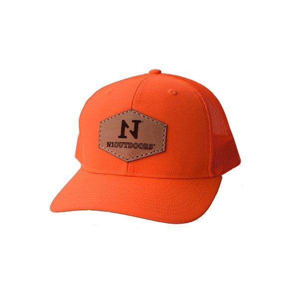 blaze orange n1 outdoors leather patch hat