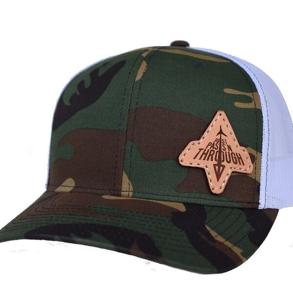 camo and white just passn through archery hat