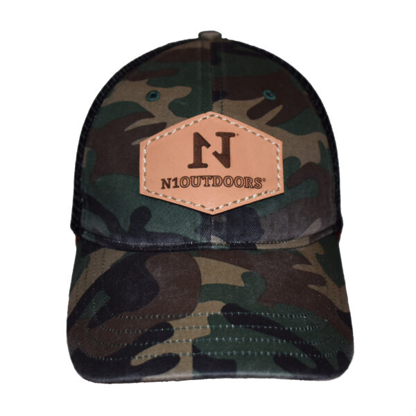 green camo with n1 outdoors words and logo leather patch hat