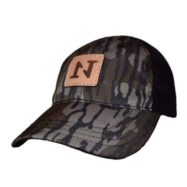 mossy oak bottomland camo N1 outdoors leather patch hat