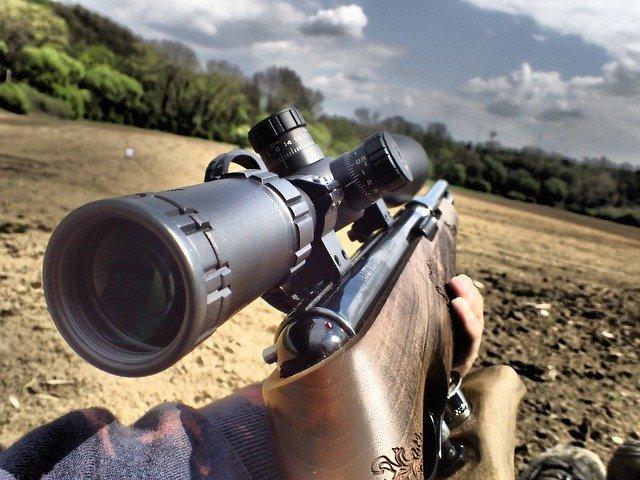 long range rifle on shooting range