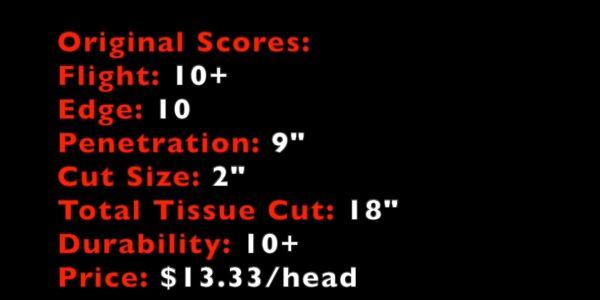 score card for tooth of the arrow original broadhead