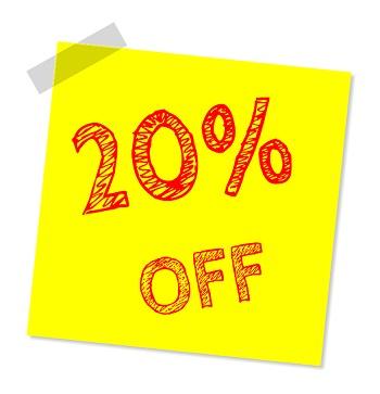 20 percent discount sign