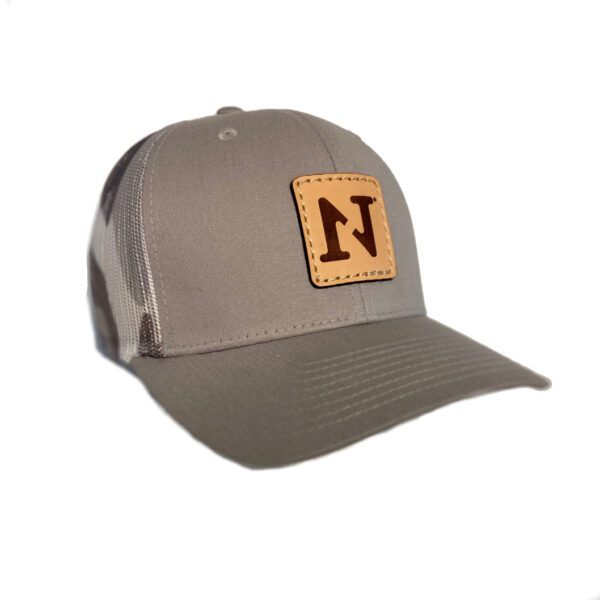 N1 Outdoors logo leather patch hat silver and grey camo mesh