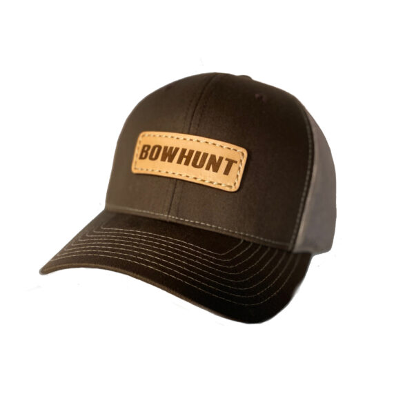 N1 outdoors bowhunt leather patch hat brown khaki