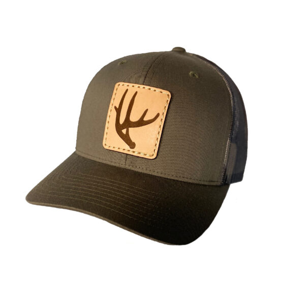 N1 outdoors deer antler leather patch hat loden green camo