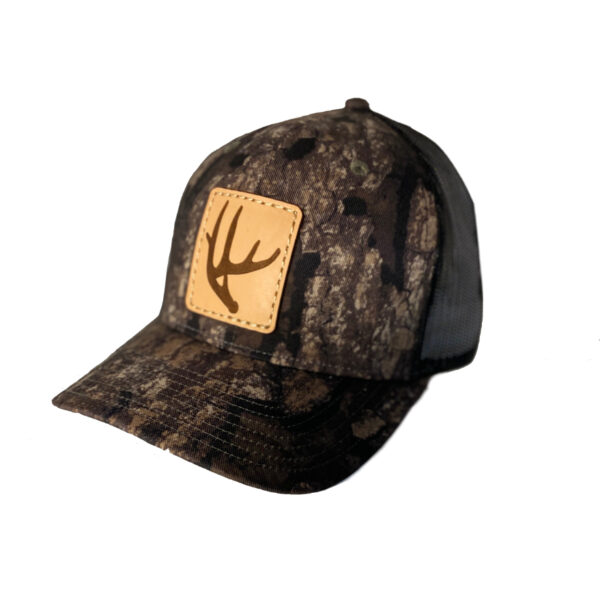 N1 outdoors deer antler leather patch hat on realtree timber with black mesh